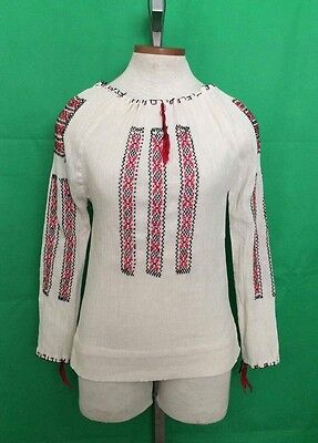 Vtg Romanian Folk Blouse, embroidered Festival Tunic cotton, S/M Ukraine