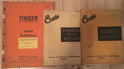 Vintage 1950's Erots, Timken Parts Catalogues, Manuals, Bearings & Pipe Fittings