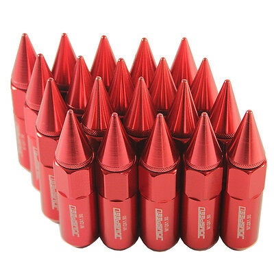 Red 20pcs M12X1.5 60mm Cap Spiked Extended Tuner Aluminum Wheel Rim Lug Nuts
