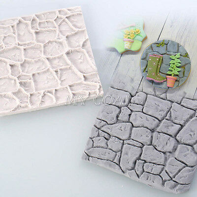 3D Cobble Stone Wall Silicone Fondant Mould Cake Decor Sugarcraft Mat Icing Mold