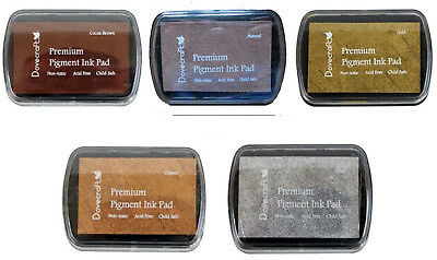 Set of 5 DOVECRAFT PIGMENT INK PADS Rubber stamping  EARTHTONES and METALLICS