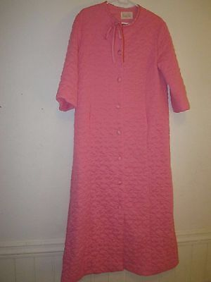 Vintage VANITY FAIR USA quilted robe nylon tricot womens 12 mint