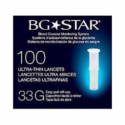 BG Star Ultra Thin Lancet 33g x100 Blood Glucose Monitoring,Easy Pull Off Cap UK