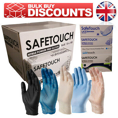 SAFETOUCH Powder Free Disposable Latex, Nitrile or Vinyl Gloves  - Box of 100