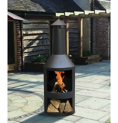 Large Log Burner Garden Black Chiminea Outdoor Patio Heater Fire Pit Steel Store