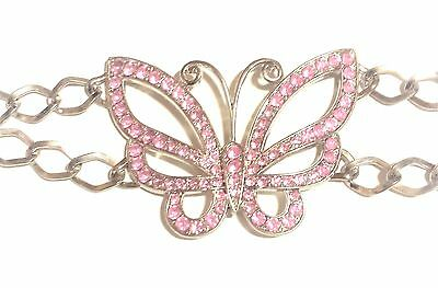 Girls Belt Silver Chain Links With Pink Rhinestone Butterfly Great Gift