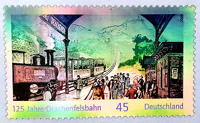 Rare Hologram/Holographic/3D Stamp Germany 2008 Steam train in Railway Station