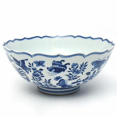 SUPERB Chinese Porcelain Blue and White Bowl with Butterflies Marked yungzheng