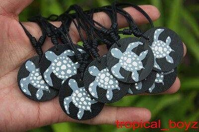 10 Handmade Hand-painted Wooden SEA TURTLE Cotton Necklaces Wholesale