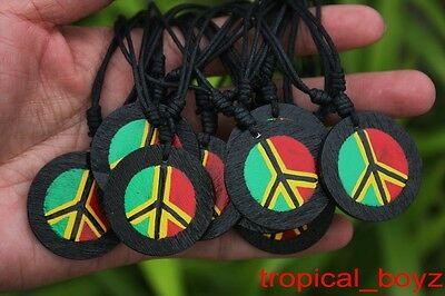 10 Handmade Hand-painted Wooden RASTA PEACE Cotton Necklaces Wholesale