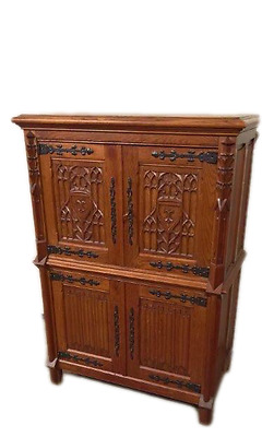 Antique French Gothic Cabinet Four Door Cabinet in Solid Oak Nicely Carved