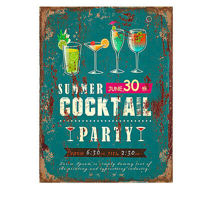 "Targa decoro in latta stile Vintage ""Summer Cocktail Party"", cm 25x33"