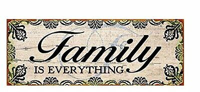 "Targa decoro in latta stile Vintage, ""Family"", cm 13x36"