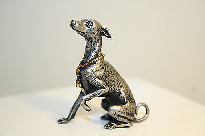 Italian Greyhound whippet (colored collar) statue dog miniature pewter figurine