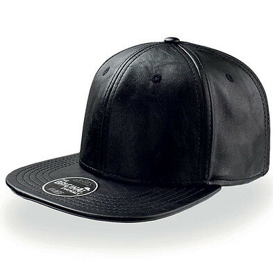CAPPELLINO in ECOPELLE Nero RAP Cappello UNISEX Uomo DONNA Atlantis RAPPER Snap