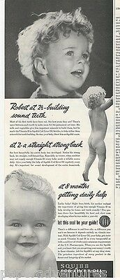 1941 Nude Little Boy ROBERT Straight Strong Back SQUIBB Cod Liver Oil Vintage Ad