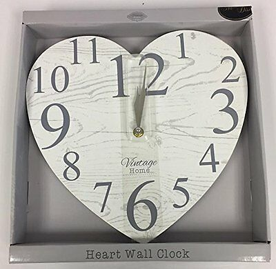 Vintage Style Heart Shaped Clock - Shabby Chic - Wall Clock - White