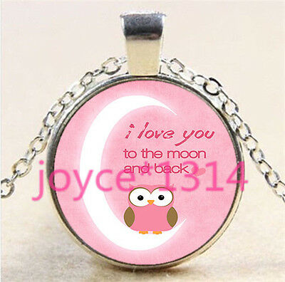 I LOVE YOU TO THE MOON AND BACK Tibetan silver Glass Chain Pendant Necklace#5760