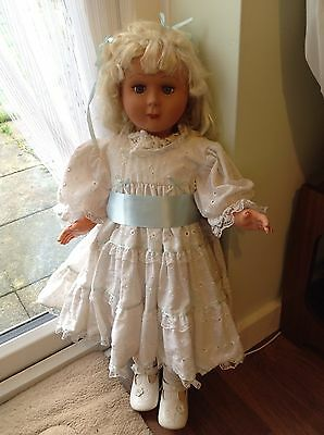 """Large Vintage Fashion Toddler DOLL Lifesize 29"""" Tall Bisque Weighted Eyes"""