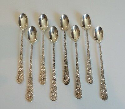 SET/8 STIEFF STERLING SILVER ICED TEA SPOONS, REPOUSSE / STIEFF ROSE, Monogram