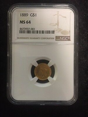 1889 G$1 Indian Princess Type 3 Gold Dollar MS64 NGC