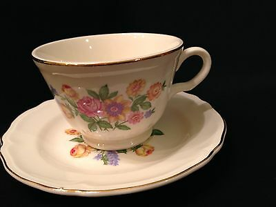 Vintage KNOWLES  Porcelain China Tea Cup Saucer Teacup Rose Floral Tea cup