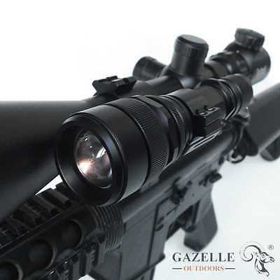 CREE 1200LM ZOOMABLE Scope Mount Lamp Hunting Gun Air Rifle Torch Light Battery