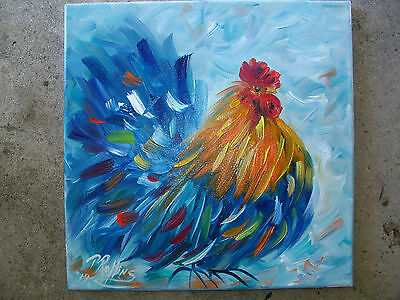 ROOSTER OIL PAINTING 12 x 12 CANVAS ORIGINAL PAT ROLLINS ART