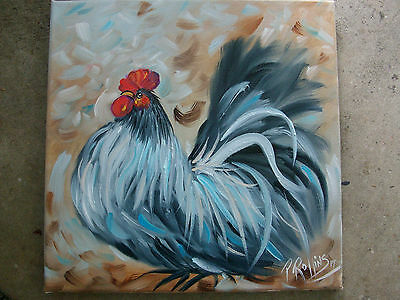 ROOSTER CHICKEN  OIL PAINTING 12 x 12 CANVAS ORIGINAL PAT ROLLINS ART