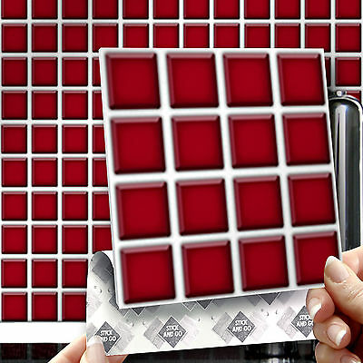 8 Stick & Go Red Mosaic Stick On Wall Tiles for Kitchens & Bathrooms
