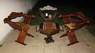 Lions Savonarola Gothic Renaissance french chairs chess table Medieval shields