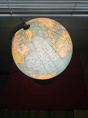 Vintage Mid Century Rand McNally Lighted World Globe-12 in. Rare!