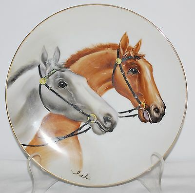 Ucagco China Hand Painted Horse Plate Japan Vintage Signed Ishi