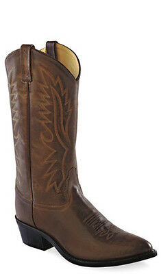 Old West Dark Brown Mens Polanil Leather Round Toe 13in Cowboy Boots