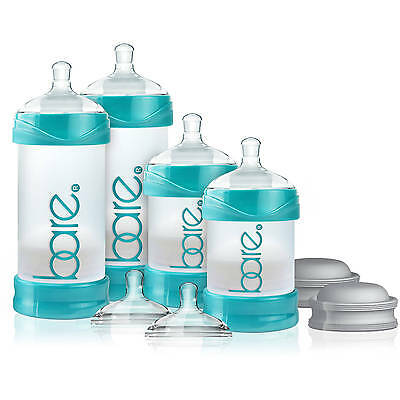BARE Air Free Starter Set 4 BABY BOTTLE Feeding Anti Reflux Easy Latch Nipples