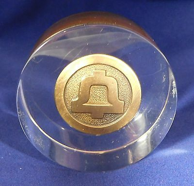 Vintage ~ AT&T ~ Bell Telephone Company ~ Lucite Paperweight ~ Brass Medallion