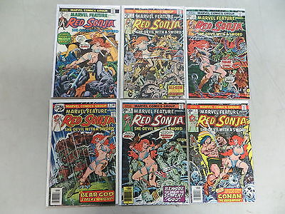 Marvel Feature 6 Issue Bronze Comic Run 1-7 Red Sonja