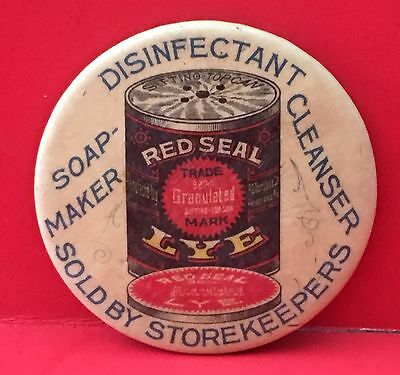 Celluloid Advertising Pocket Mirror Red Seal Lye Disinfectant, Cleanser. Soap