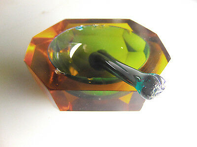 Vintage Blown Glass Faceted Mortar And Pestal