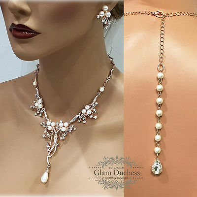 Rose gold Crystal pearl Backdrop Necklace earrings bridesmaid Wedding jewelry
