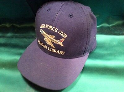 Vintage Made in USA Air Force One Reagan Library Baseball Cap Hat