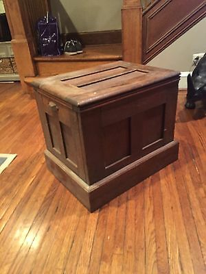 Antique Oak Ice Box ~ Chest Style with Lid on Top ~ Metal Interior Painted White