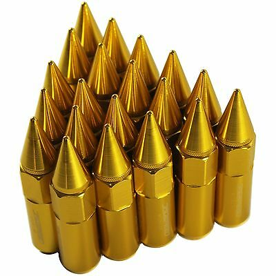 Gold 20pcs M12X1.5 60mm Cap Spiked Extended Tuner Aluminum Wheel Rim Lug Nuts
