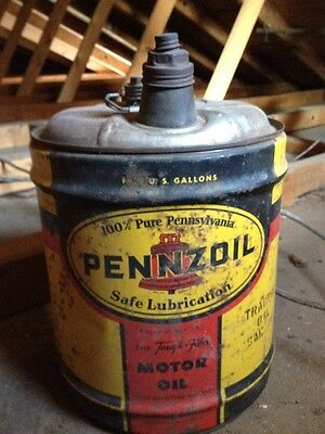 VTG Old Pennzoil PA Motor Tractor Oil 5 gallon metal can ADVERTISING Liter SAE10