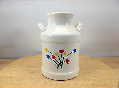 "Ceramic White Tulips Milk /Cream Pottery Jug Jar Can 5 1/2"" tall"