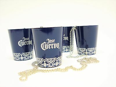 Set of 4 Jose Cuervo Tequila Stainless Steel Shot Glasses with chain necklace.