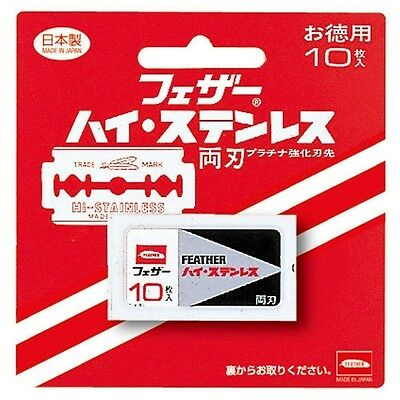 Feather Japan Hi-Stainless Steel Double Edge Safety Razor Blade Refill 10 Blades