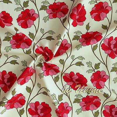 Ivory Red Climbing Roses 100% Cotton Fabric Fat Quarter Clothing craft patchwork