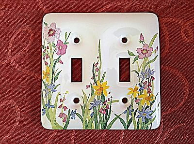 Porcelain Ceramic Double Switch Plate Outlet Covers - White with flowers