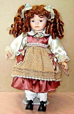 """EMERALD DOLL COLLECTION """"NICOLINA"""" #16035-ARTIST EDITION PORCELAIN DOLL w/STAND"""